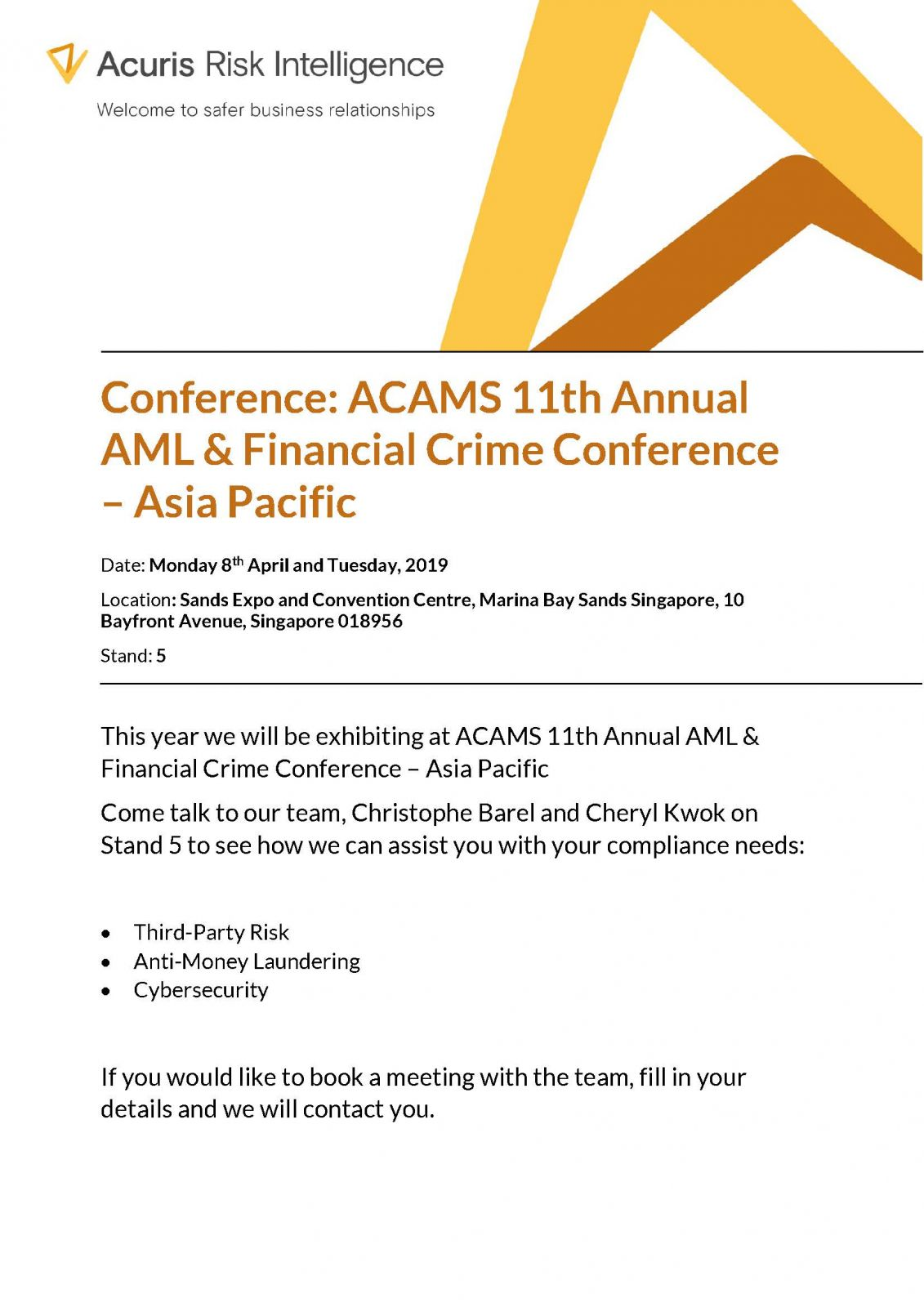 Conference: ACAMS 11th Annual AML & Financial Crime Conference
