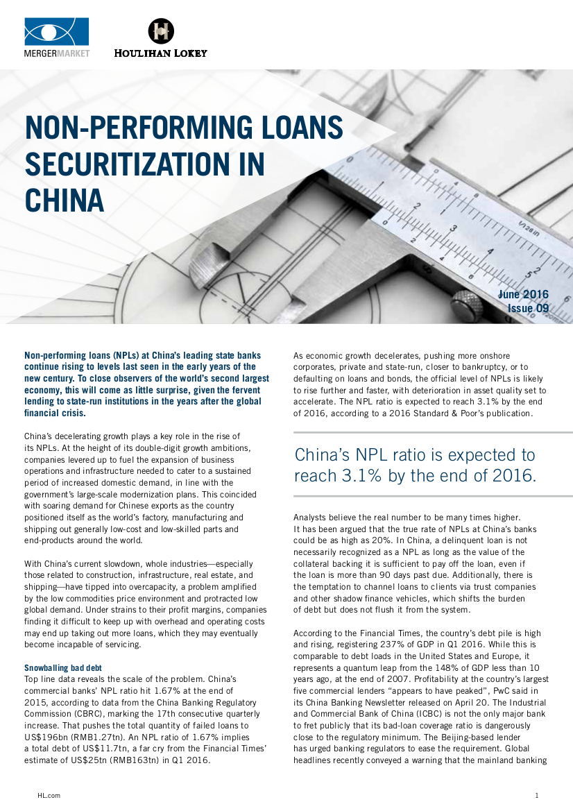 Non Performing Loans Securitization In China Houlihan Lokey How The States Are Interrelated Is Shown Statechart Diagram Quarterly Newsletter Acuris