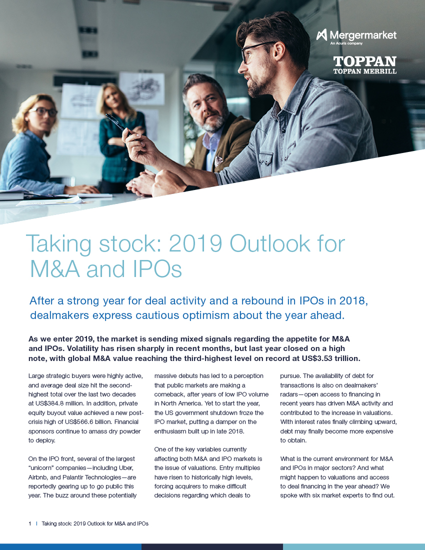 Taking stock: 2019 Outlook for M&A and IPOs | Acuris